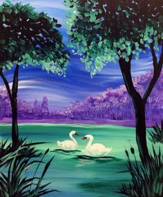 Pinot's Palette - Naperville Painting Library-Swan Lake