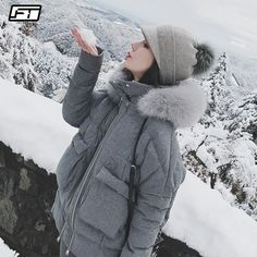 On Sale Fitaylor Real Fox Fur Collar White Duck Down Parkas Winter Women Slim Hooded Jackets Warm Snow Down Gray Coat Gray Jacket, Gray Coat, Down Parka Women, Duck Down Jacket, Spring Outfits Women, White Ducks, Womens Parka, Winter Jackets Women, Down Coat