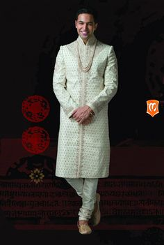 The Manyavar elegant white sherwani :- This sherwani filled with the white elegance is the wear for the grand day. Studded with butta work, sequins, stones all over the sherwani makes it a royal icon.  #Sherwani #Manyavar #Wedding #Ethnic Wear #Manyavar Wedding Wear #Indian Wedding Wear #Wedding Collection #Manyavar Sherwani