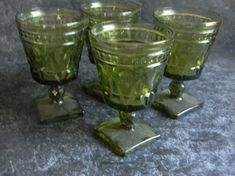 Vintage Easter decor goblets Princess Green Avocado Giftware