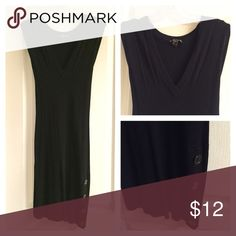 Black Sweater Dress Fitted Sweater dress with side button detail in front. V neck. Great with boots. Dresses Midi