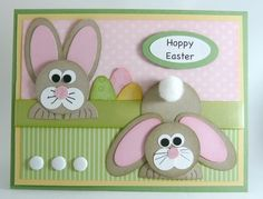 Cute punch art card for Easter Easter Projects, Easter Crafts, Baby Dekor, Tarjetas Diy, Hoppy Easter, Easter Card, Easter Bunny, Punch Art Cards, Paper Punch
