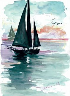 Watercolor Print Sunset Sails by RedHouseDesignStudio on Etsy Watercolor Landscape, Watercolor Print, Watercolor Paintings, Watercolor Ocean, Watercolours, Simple Watercolor, Landscape Art, Watercolor Techniques, Painting Inspiration