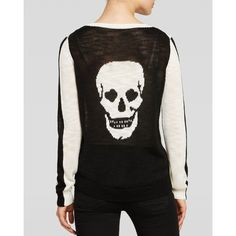 Add a devil-may-care touch into your winter wardrobe with this cheeky, skull motif sweater from AQUA. Acrylic. Hand wash. Imported. Round neck, long sleeves, c…