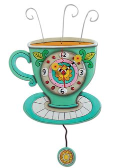 Adorable coffee cup clock with swinging pendulum by Allen Designs.  www.32flavorsboutique.com