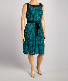 Look at this Black & Teal Sleeveless Dress - Plus on #zulily today!