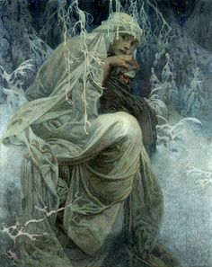 """""""A Winter Tale"""" ~ Alphonse Mucha ~ Click through the large version for a full-screen view (with a black background in Firefox). Set your computer for full-screen. ~ Mik's Pics """"Alphonse Mucha l"""" board Art Nouveau Prague, Alphonse Mucha Art, Winter's Tale, Pre Raphaelite, New Art, Vintage Art, Art History, Illustrators, Art Drawings"""