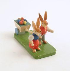Vintage Easter Bunny Rabbits Egg Cart Erzgebirge. #rabbit
