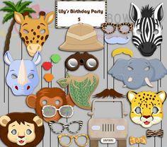 Editable Safari Party Photo Booth Props Jungle by IraJoJoBowtique