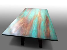 """Stół+dębowy+""""V""""+ręcznie+malowany+w+Rossada+na+DaWanda.com"""