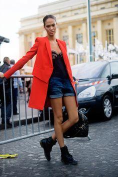 Model Joan Smalls Streetstyle. Amazing red jacket.