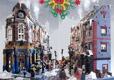 LEGO minifigures also celebrate Christmas every year, and their tradition can be traced to Victorian period. The Victorian London Christmas LEGO set w Lego Christmas, London Christmas, Lego Architecture, Victorian Architecture, Lego Gingerbread House, Lego Winter Village, Lego Boards, Amazing Lego Creations, Victorian London
