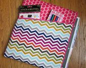 Planner Pouch / Case for Erin Condren Teacher Planner, Multi Color Chevron, Large Pink Polka Dot