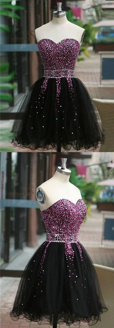 Gorgeous A Line Sweetheart Black Short Homecoming Dresses with Beading, Little Black Dresses, Short Prom Dresses Homecoming Dresses Tight, Two Piece Homecoming Dress, Short Dresses, Girls Dresses, Flower Girl Dresses, Dress Prom, Formal Dress, Robes D'occasion, Knot Dress