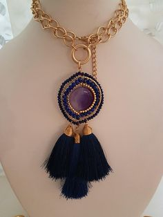 Tassel Necklace, Blue Tassel Necklace, Chain Tassel Necklace, Gold Chain Tassel Necklace, Statement Tassel Necklace, Bohemian Tassel Necklace, Mexican Jewelry, Wire Beaded Pendant Necklace Statement Necklace, Tassel Boho Necklace, Blue Boho Tassel Necklace. Pendant necklace with