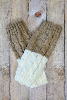 Mocha and Ivory Reversible Knitted Boot Cuffs