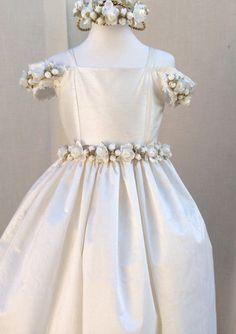 First Communion Dress / Ivory Silk Flower by ElenaCollectionUSA, $165.00