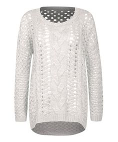 Another great find on #zulily! Ivory Wide Cable-Knit Sweater by Dex #zulilyfinds