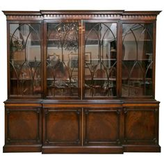 For Sale on - Finest custom quality J. Zonan mahogany and satinwood inlaid bookcase / breakfront. Flame mahogany breakfront with satinwood inlay. The top having Greek Home Decor Furniture, Cool Furniture, Furniture Ideas, Furniture Storage, Antique Furniture, Modern Furniture, China Cabinet Display, Display Cabinets, Crockery Cabinet