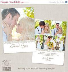 Thank You Photo Collage Card Wedding Thank You Card Custom Thanks