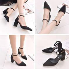Pump - Black Casual ankle buckle suede Pumps @shoesofexception #trendy #unusual #pumps