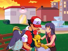 Ash Ketchum and Pikachu with Dawn and Prinplup