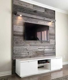Image result for wood feature on wall tv