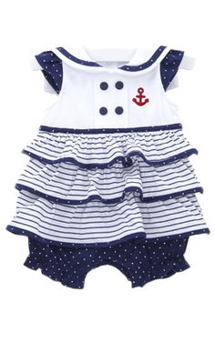 Tiered Skirted Sailor Bubble , Kids Clothes at Le Top