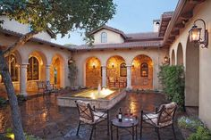 Tuscan style home in Austin, Texas - Atrium courtyard with fountain...