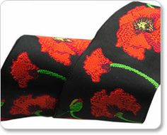 Red and Black Poppy Ribbon - Laura Foster Nicholson