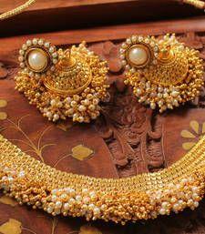 Buy LOVELY ANTIQUE  DESIGNER PEARL-GOLD  NECKLACE SET necklace-set online