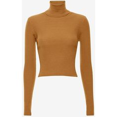 A.L.C. Milo Cropped Ribbed Turtleneck ($295) ❤ liked on Polyvore featuring tops, sweaters, brown crop top, turtleneck sweater, turtleneck crop top, long sleeve turtleneck and brown turtleneck sweater