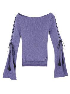 【ELLE】「マメ」のラメニットトップス|2017春夏トレンドはこの6色! クローゼットに加えたいカラーアイテム52|エル・オンライン Fall Sweaters, Athleisure, Blazer Jacket, Knitwear, Bell Sleeve Top, Lace Up, Knitting, Lady, My Style