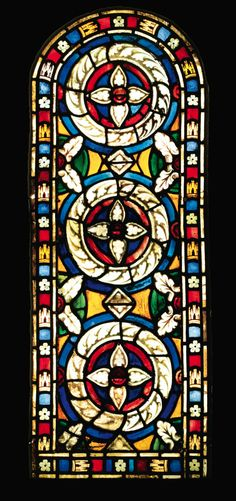 A GERMAN, 14TH CENTURY, STAINED GLASS PANEL