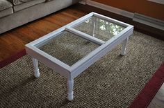 Matt Project: Make an old Window into a Coffee Table. Rock collection display