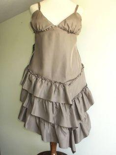 Bebe Silk Tiered Strappy Dress Brown SZ L $129 NWT