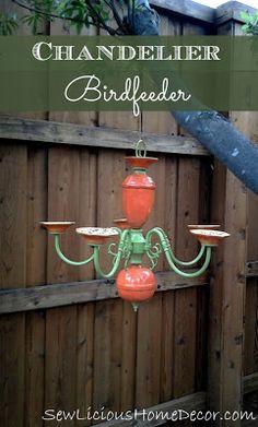Chandelier Birdfeeder-Patio Decor. sewlicioushomedecor.com