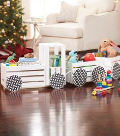 How to Make a Crate Train for Lo's toys