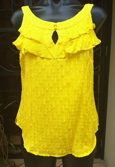 NWTS Yellow Katherine Silk Top, Lined, Feature Neckline Size 10 RRP $130