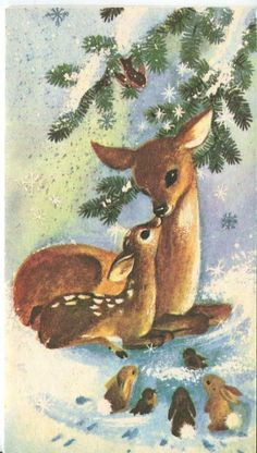 Vintage Christmas card with sweet Doe & Fawn, birds & bunnies - (holidays, Xmas, illustration, deer) Vintage Christmas Images, Christmas Scenes, Christmas Deer, Christmas Animals, Retro Christmas, Vintage Holiday, Christmas Pictures, Christmas Greetings, Christmas Greeting Cards