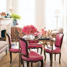 upholsterd chairs in pink
