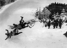 Italian team crashing their bobsleigh at the 1936 Winter Olympics in Garmisch-Partenkirchen, Germany.