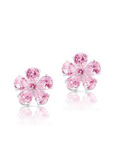 SoCo Bridal - Sparkling Pink CZ Floral Studs, $98.00 (http://www.socobridal.com/sparkling-pink-cz-floral-studs/)