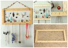 Chicken Wire.  Here you can use old photo frame as well.....Ideas to Make DIY Jewelry Holder! So Easy To Organized Your Jewelry.... #diyjewelryholder #diy #crafts #Jewelry #Organiser #diycraftproject #handmade
