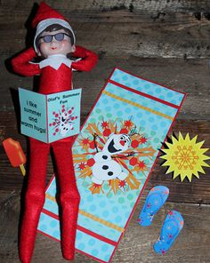Frozen Olaf Elf On The Shelf - Christmas in July Summer Vacation - Snowflake Beach Towel Photo Props Digital Printable I Like Warm Hugs Book by PlayfulPeachPrints