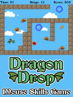 20 levels of fun! Practice computer mouse skills by helping guide the dragon to his food. Educational Games For Kids, Computer Mouse, Dragon, Play, Lettering, Fun, Educational Games For Children, Fin Fun, Mouse For Computer