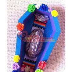 Virgen de Guadalupe Nicho, by Susie Carranza. Wood, clay, metal, resin, fabric. Available at www.ArtedeNuestroCorazon.com  #art #arte #virgendeguadalupe #nicho