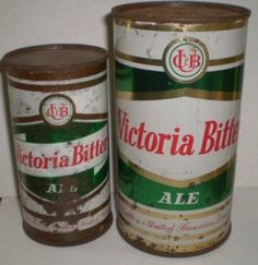 Two old flat top steel VB cans - large and small