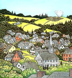"""Hunckleberry Hill"" by Mary Azarian (Hand Colored Woodcuts)"