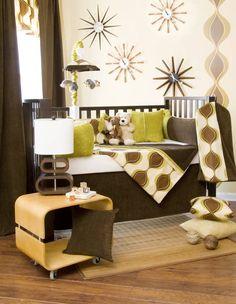 Love the retro inspired baby room. Baby Crib Sets, Crib Bedding Sets, Nursery Bedding, Baby Cribs, Baby Bedding, Cool Baby Gadgets, Baby Gallery, Best Crib, Retro Baby